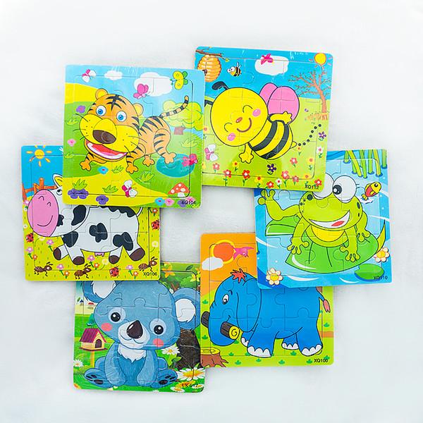 Детские мультфильм животных деревянные пазлы доска дети дети игрушки развивающие раннее обучение веселые игры тигровая пчела лягушка корова коала