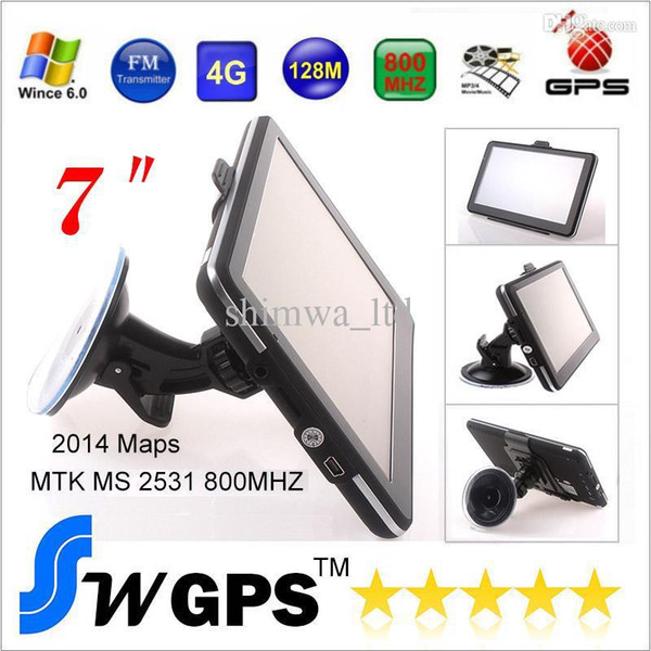 """7"""" GPS Navigation, Free Newest Map, 4GB Flash, FM Transmitter, 800MHz, DDR128MB, MP3/MP4/Game WinCE 6.0 OS. (bluetooth AV-in Optional)"""