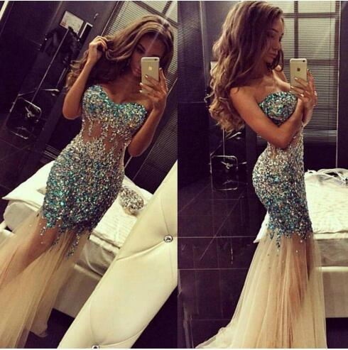 Sparkly Artificial Rhinestone Beaded Mermaid Prom Dresses 2016 Luxury Crystal Sweetheart Champagne Tulle Long Teens Backless Evening Dress