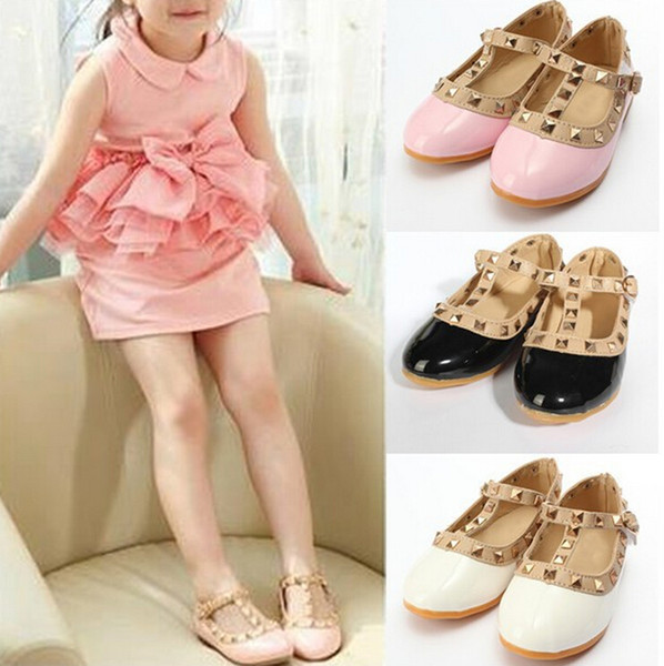 best selling Free Shipping 2015 summer children girls baby kids sandals Princess Shoe leather shoes tendon end rivet children shoes 4 Colors 2-12 Years