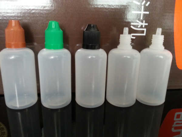 Botellas cuentagotas de plástico CHILD Proof Caps Tips 1700 piezas por caja de cartón 30 ml (1 oz) de LDPE para E Vapor Cig Liquid