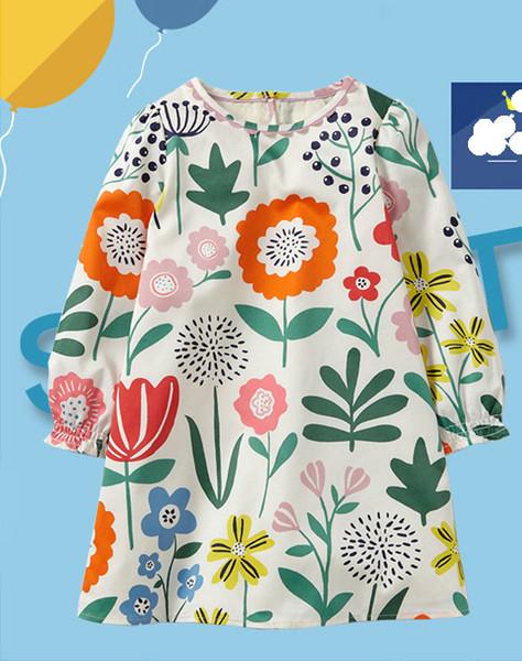 Faldas de las muchachas de la manera Vestidos Faldas de los cabritos del diseño del estampado de flores estilo coreano vestido de moda para las muchachas