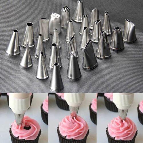 Shipping 24pcs Icing Piping Nozzles Pastry Tips Cake Cupcake Decorating DIY Tool Box Set# 5692