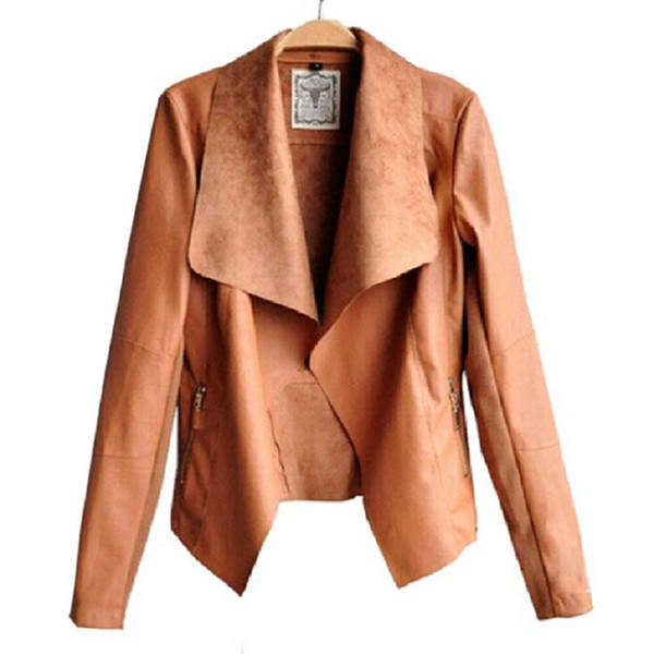 best selling New fashion Long Sleeve PU Leather Jacket Faux Turn-Down Collor Leather Jackets Women Slim Coats Plus Size Feminino S-4XL