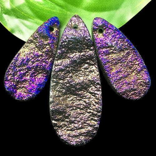 yl014 3pcs Purple Titanium Druzy Quartz Geode Stone Pendant Bead set Random send