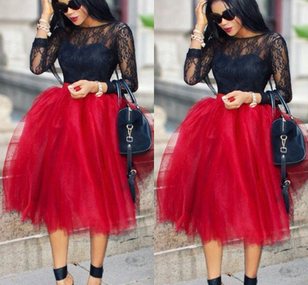 top popular Unique Solid Saias Women Skirts Knee Length A Line All Colors 5 Layers Tutu Tulle Skirt Casual Dream Free Shipping 2021