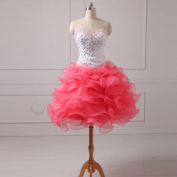 Elegant Ball Gown Prom Dress With Ruffles 2016 Short Sweetheart Crystal Organza Prom Gown Real Photo