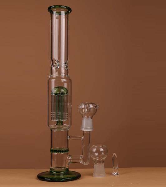 Green Glass Bong Honeycomb Frit Perk pipe à eau en verre Straight Pipe Fab Dab Oil Rig scientifique Lourde base Hookah Shisha Bongs