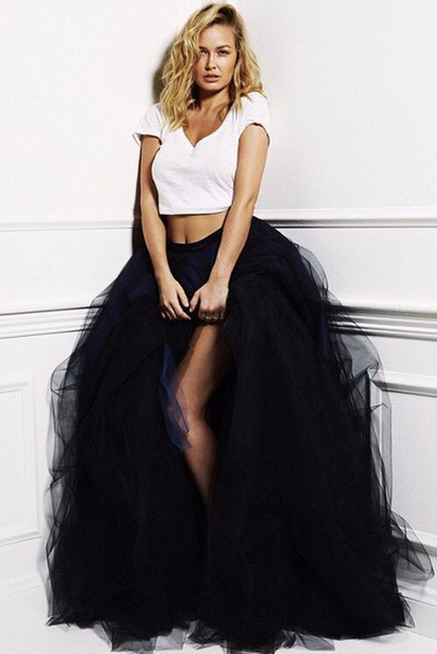 best selling 2016 Tutu Skirt Spring Long Dresses Evening Wear Tulle High Quality Ruffled Black Women Unique Elegant Formal Skirts