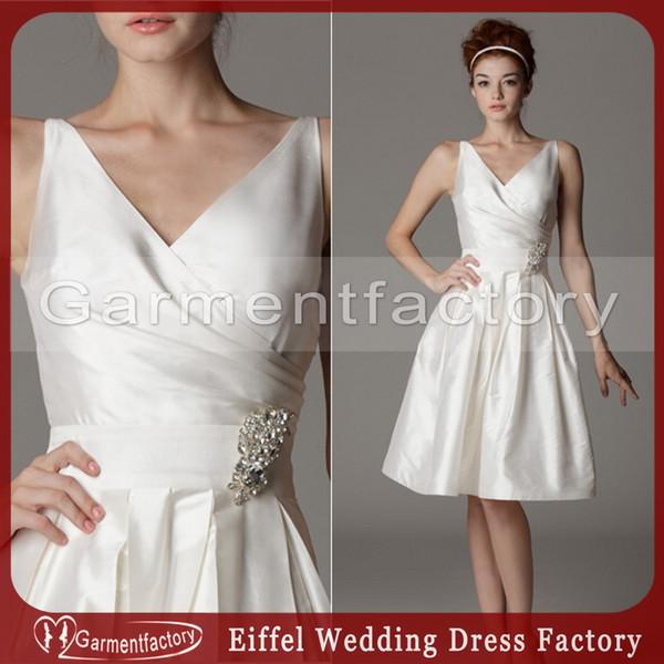 Cheap Short Wedding Dresses Under 100 Fall 2015 Simple Style V Neck A Line Knee Length