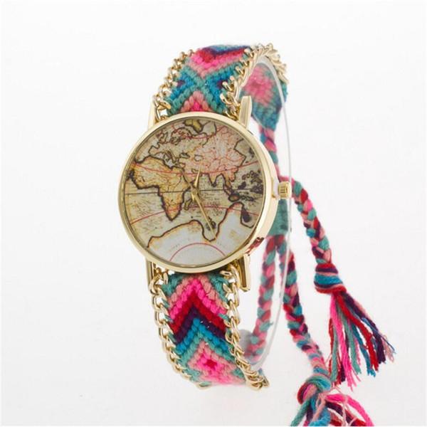 Lüks Lady Kadınlar Örgü Elbise Izle El Yapımı Örgülü Kuvars Kol Saati Braclet Dünya Haritası Altın Arama Kızlar Casual Saatler
