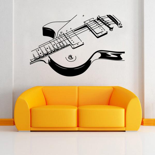 Adesivos de parede pontos de arte guitarra adesivos de parede diy casa decorações decalques de parede de música sala de estar