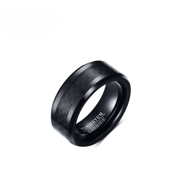 EURO-US Popular Black Tungsten Carbide Ring for Men 8mm Wide US Size 7-12 Carbon Fiber Wedding Jewelry Trendy 2017