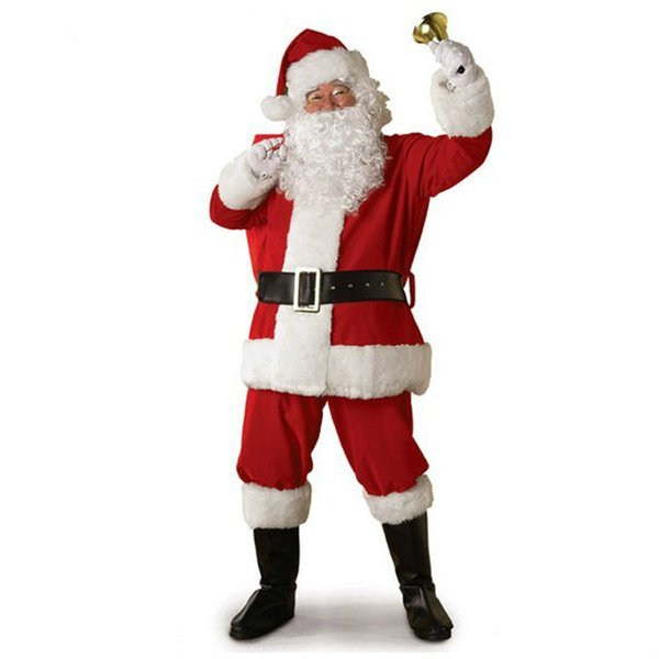 Christmas Cosplay Santa Claus Costume Red Santa Claus Suit Long Sleeve Clothes Unisex Free Size Clothing