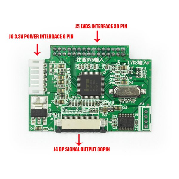 3.3V 30 Pin LVDS Turn To EDP Signal LCD Converter Board LCD Module for 1920*1080P 1366*768P EDP LCD Panel