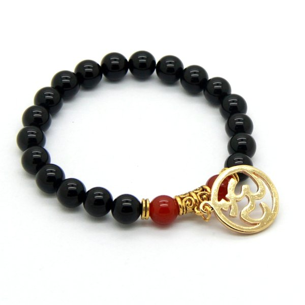 Wholesale New Products Men And Women bracelet 8mm Natural Black Agate Stone Beads Om Inspired Yoga Meditation Bracelets Jewelry