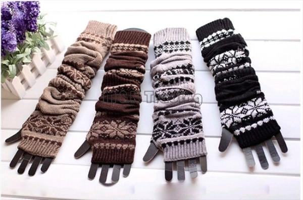 4 Colors Long Snowflake Knitted Glove Warm Hand Wrist Oversleeve Fingerless Gloves Fashion Women Winter Crochet Glove Cotton Blend