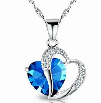 DHL Women Fashion Heart Crystal Rhinestone Silver Chain Pendant Necklace Diamond Jewelry for Christmas Gift Party Ornament