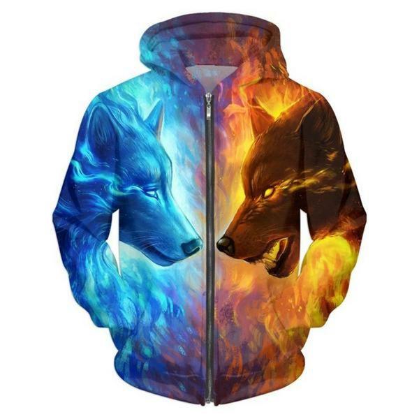 Großhandels-Cloudstyle 2017 Männer 3D Hoodies Eis und Feuer Wolf 3D Print Harajuku Casual Sweatshirt Mode Lässig Dünne Jacke Plus Größe 5XL