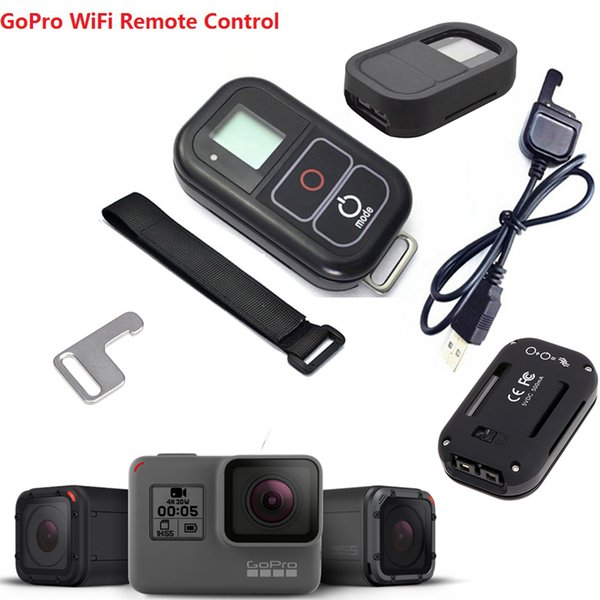 Freeshipping Accessories For GoPro Hero 5 Wireless WiFi Remote Control+RC Charging Cable+Wrist Belt+Case Session