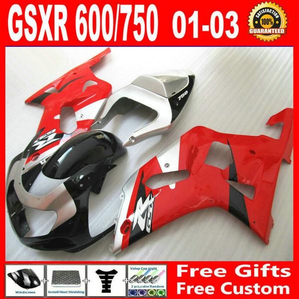 Apto para Suzuki GSXR 600 750 Carenagem GSX-R600 gsx-r750 2001 2002 2003 00 01 02 03 Sliver Red partes de carroçaria kits