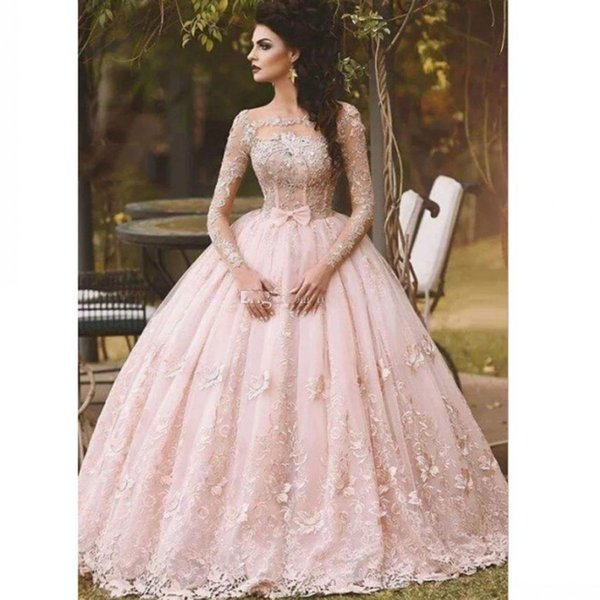 Pink Ball Gown Prom Dresses Long Sleeve Lace Appliqued Bow Sheer Neck 2017 Vintage Sweet 16 Girls Debutantes Quinceanera Dress Evening Gowns