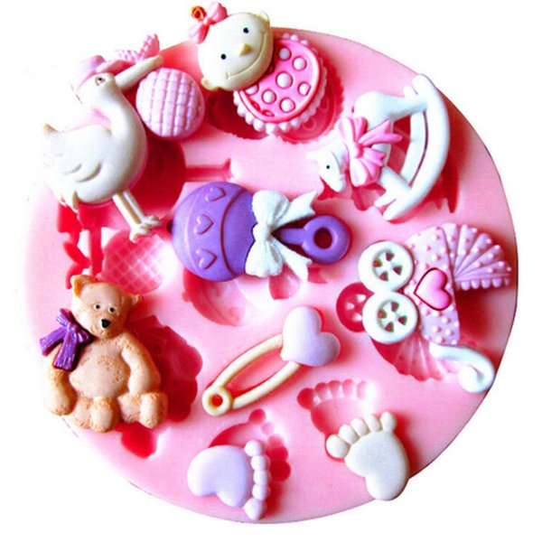 Wholesale- Baby Shower Party 3D Silicone Fondant Mold For Cake Bread Mousse Jelly Chocolate Sugarcraft Decoration DIY Cake Decorating Tool