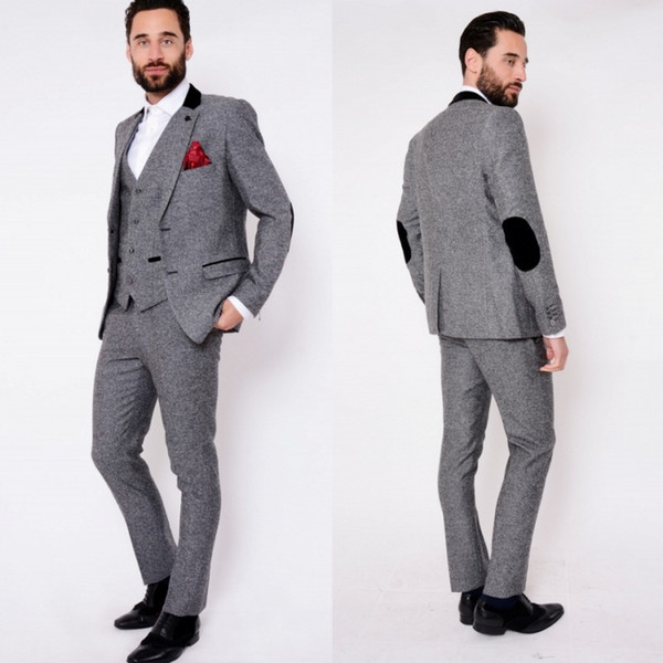 Custom Made Dark Grey Mens Suits Fashion High Quality Wedding Suits For Men Winter Warm Groom Tuxedos For Best Man(Jacket+Vest+Pants)