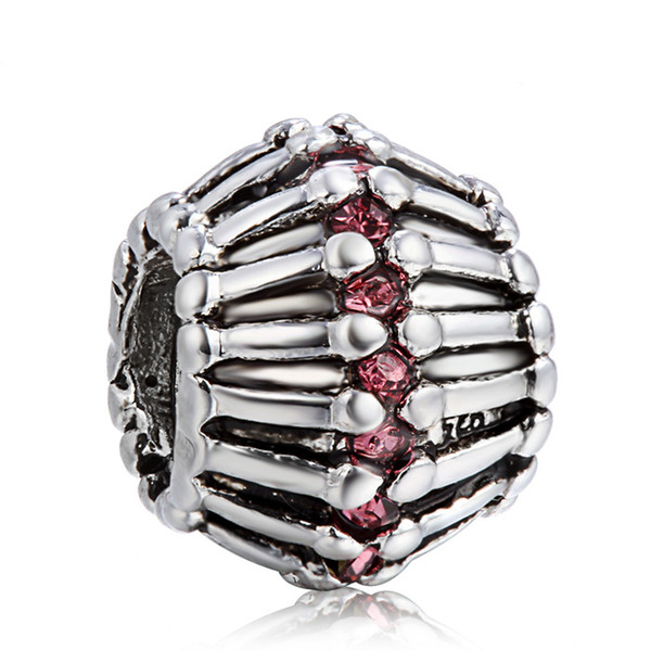 925 Sterling Silver Charm Wheel With Crystal European Charms Silver Beads For Pandora Snake Chain Bracelet DIY Fashion Jewelry