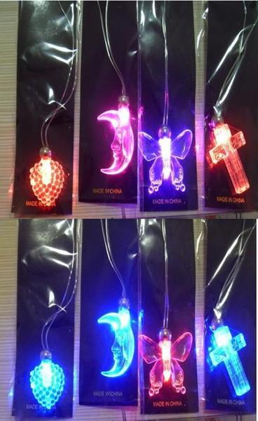 LEVOU Acrílico flash dos desenhos animados colar de brilho colar de pingente de flash Luminosa brinquedos colar Criativo brilho colar mixedlot