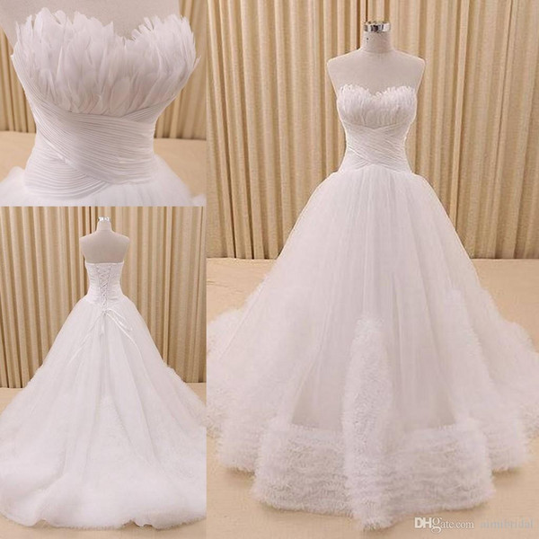 Discount Retro Bridal Gown With Feathers 2018 Real Images Wedding ...