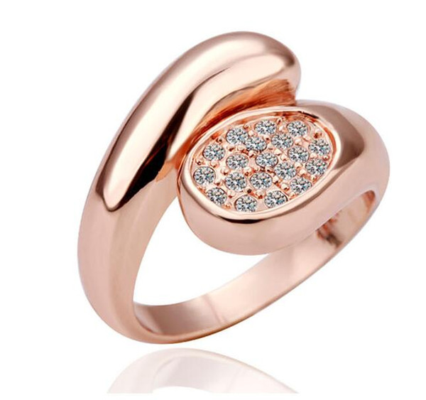 2018 Fashion 18K Rose Plated Wedding Rings Austrian Crystal Ring for Women Made With Swarovski Elements Wedding Finger Rings Nice Gift