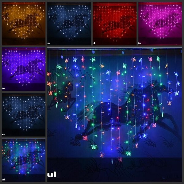 Butterfly Heart-shaped Colorful LED Lights String With Controller Hanging Light For Wedding Christmas Party Outdoor / Indoor decorations