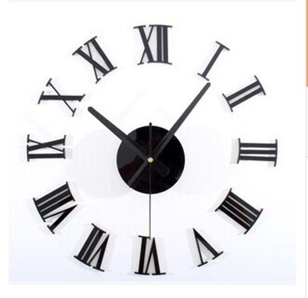 top popular Classic black 3 d DIY Roman numerals wall clock Creative combination of the wall clock DIY clock 2020