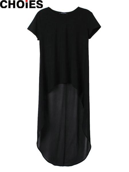 Mujeres negro gasa Patchwork Hi-Lo alto bajo flojo manga corta Straight Midi Shift camiseta vestido túnicas semi Sheer Volver
