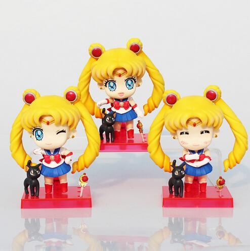 Sailor Moon Figures Tsukino Usagi Q Version PVC Action Figure Toys Collectible Model Dolls Toy 9cm Approx 3pcs/set