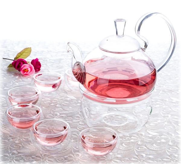 8in1 Kung fu Chá Set-120fl.oz 600 ml Alta Handle Pirex De Vidro Flor Bule de Café pote w / filtro + Mais Quente A + 6 * 1.2fl.oz Dupla Parede copo de Chá canecas