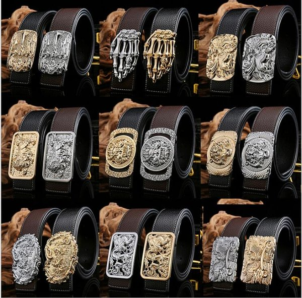 New 18 model High quality alloy agio Men's leather belt alloy leather belt Smooth buckle Men/Women belts