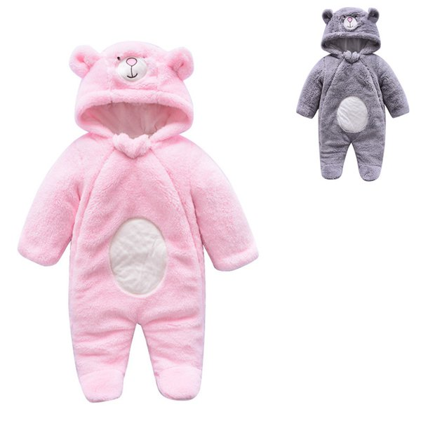 Newborns warm plush hooded onesie outfits baby cute bear ears plush winter cotton quilted romper 3m-9m boys girls autumn winter outfits