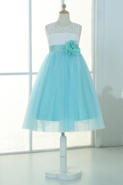 Ivory lace mint tulle keyhole flower girl dress tutu kids children junior bridesmaid dress with mint sash detachable for wedding