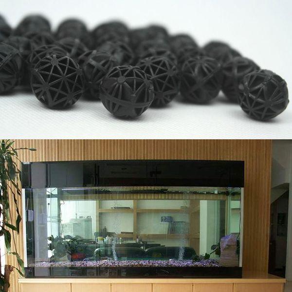 Siyah Akvaryum Aksesuarları 16mm Biyolojik Biyo Topları Akvaryum Gölet Balık Nano Tankı Islak / Kuru Teneke Kutu Filtre Medya