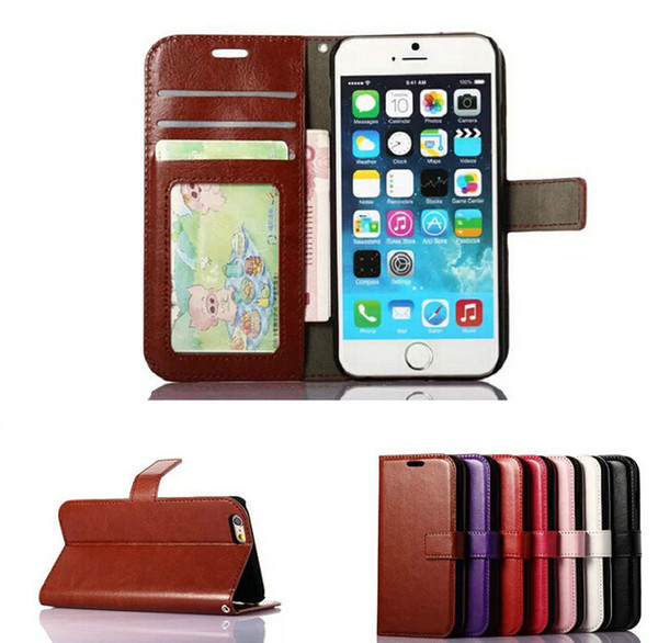 top popular Wallet PU Leather Case Cover Pouch with Card Slot Photo Frame for iPhone 6 7 6 PLUS 7Plus Galaxy S6 S7 EDGE S8 S8 plus case cover 2020