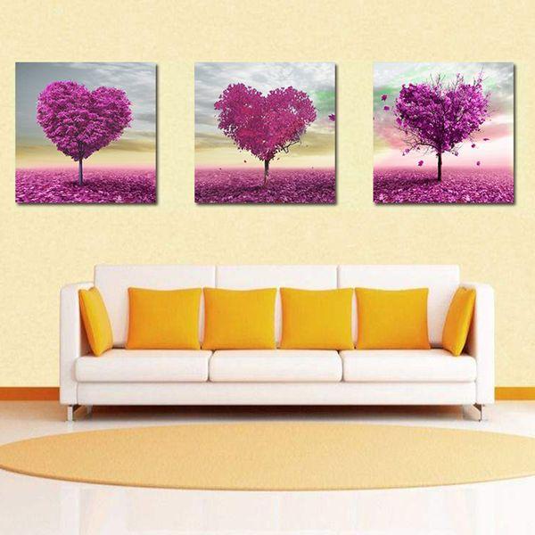 2018 Triple Cross Purple Heart Shaped Tree Hand Painted Painting ...