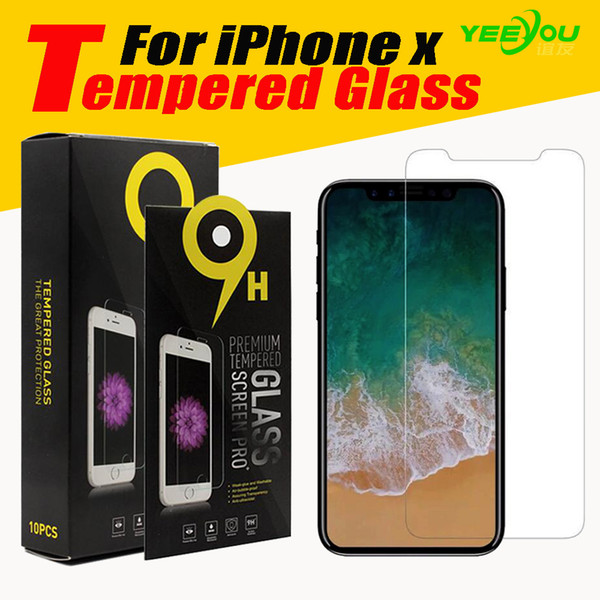 best selling For iPhone X 10 Tempered Glass Screen Protector For Iphone 8 7S for Galaxy J3 Prime 0.33mm 2.5D Anti-shatter Paper Package