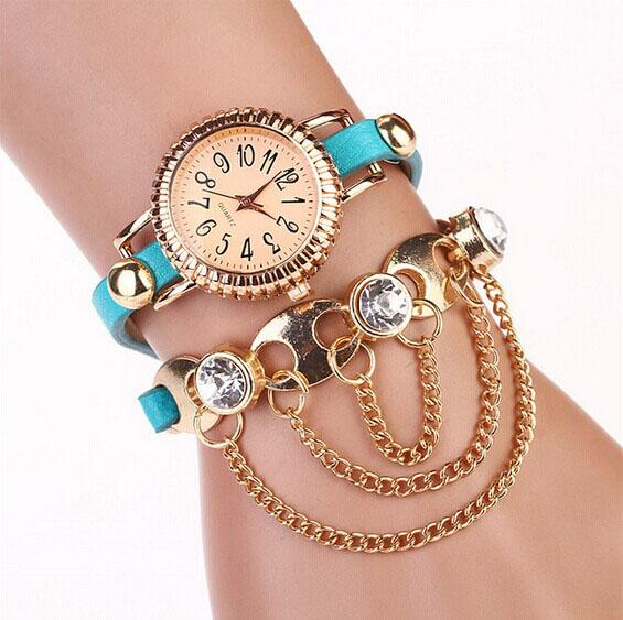 0becb5ebe31 ew Arrive Fashion Casual PU Leather Bracelet Watch gold chain with bling  crystal Women Watches Relogio