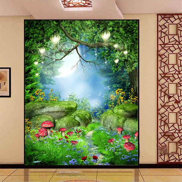 Charming fairy tale wonderland wall mural photo wallpaper for Fairy garden wall mural