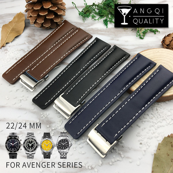 top popular YQ 22mm 24mm Genuine Calf Leather Watch Band For Breitling Avenger Series Watches Strap Watchband Man Fashion Wristband Black Brown 2020