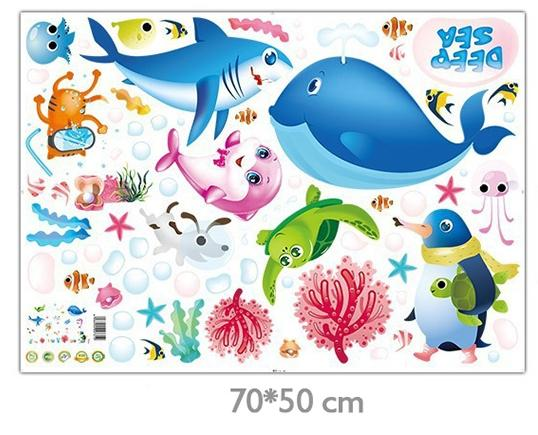 Creative Cartoon Sea Turtle Fish Animal Home DIY Wall Stickers House Decor for Kids Child Room Bedroom Bathroom Vinyl Decals