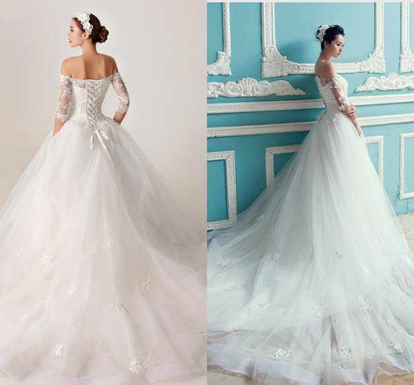 2017 Vintage Princess Wedding Dresses With Half Cap Sleeve Court ...