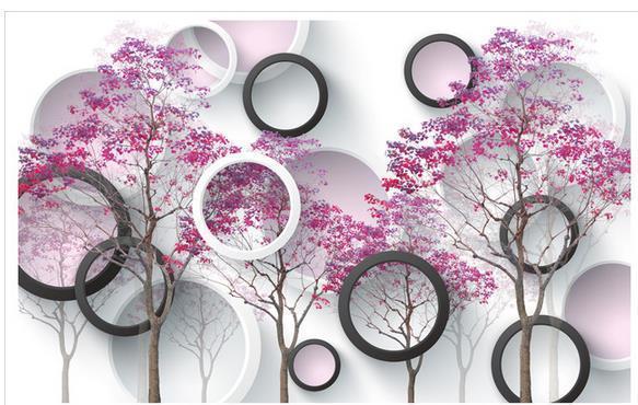 Papel de parede Simple Purple Tree 3D non-woven wallpaper new large murals costomize size 20154440